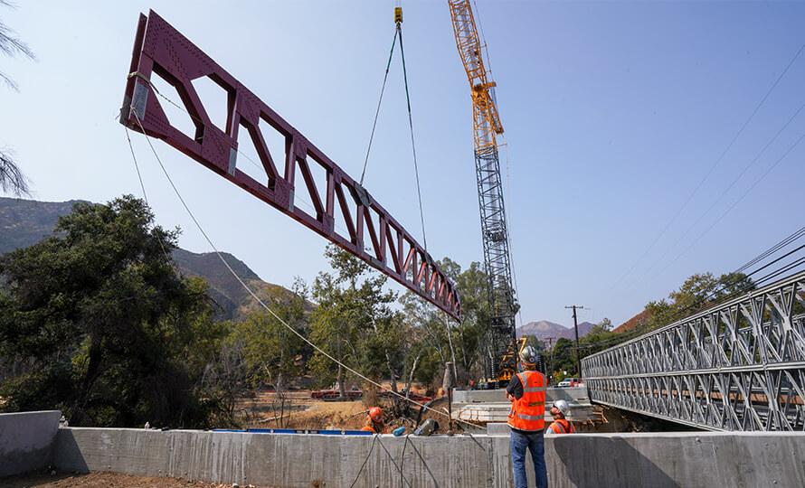 BRAGG CRANE & RIGGING CENTRAL COAST REPAIR BURNED BRIDGE