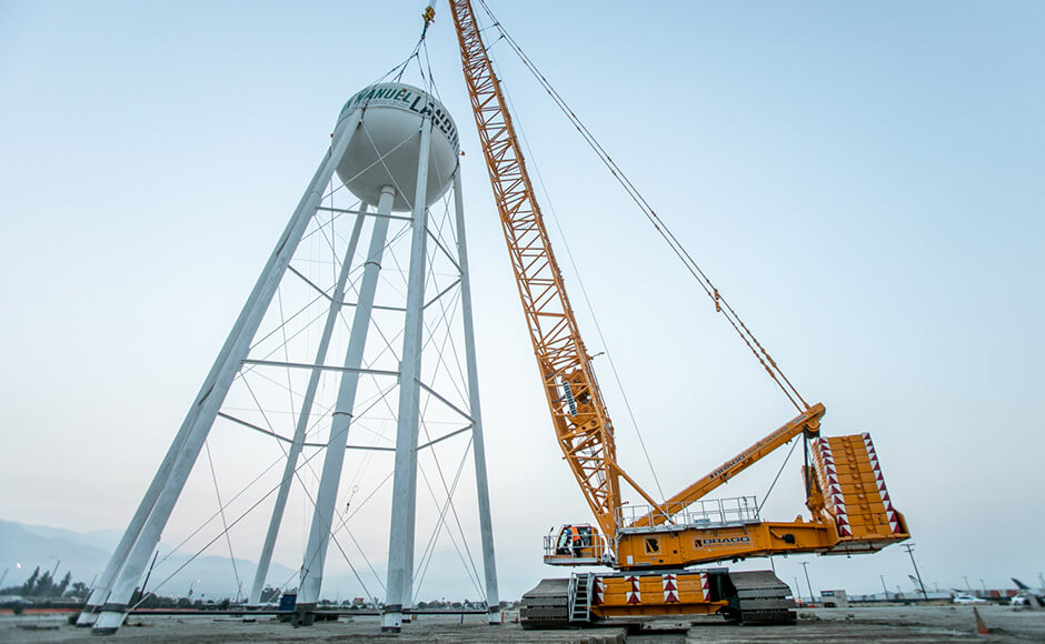 BRAGG CRANE & RIGGING RELOCATES WATER TOWER FOR SAN MANUEL BAND OF MISSION INDIANS
